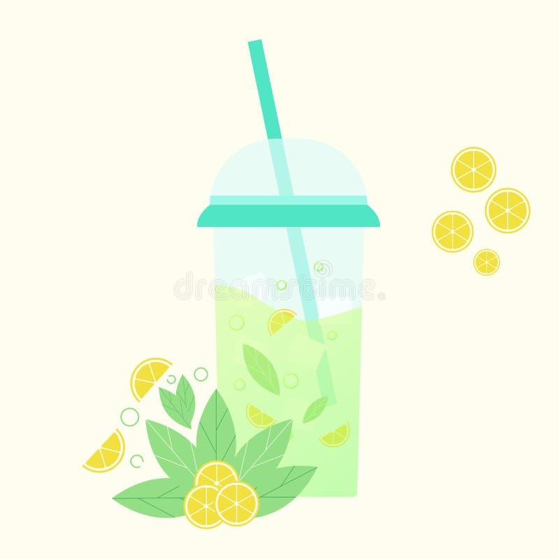 Med is te med den skivade citronen och mintkaramellen Plan design Abstrakt begrepp vektor vektor illustrationer