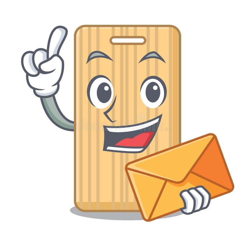 Med tecknade filmen för kuvertden träskärbrädatecken vektor illustrationer