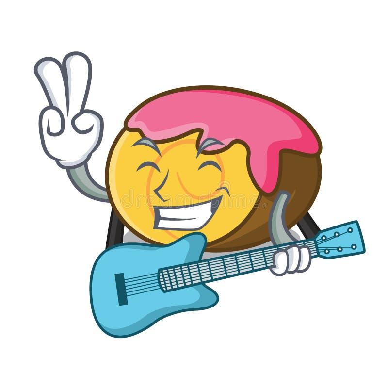 Med tecknade filmen för maskot för schweizisk rulle för gitarr stock illustrationer