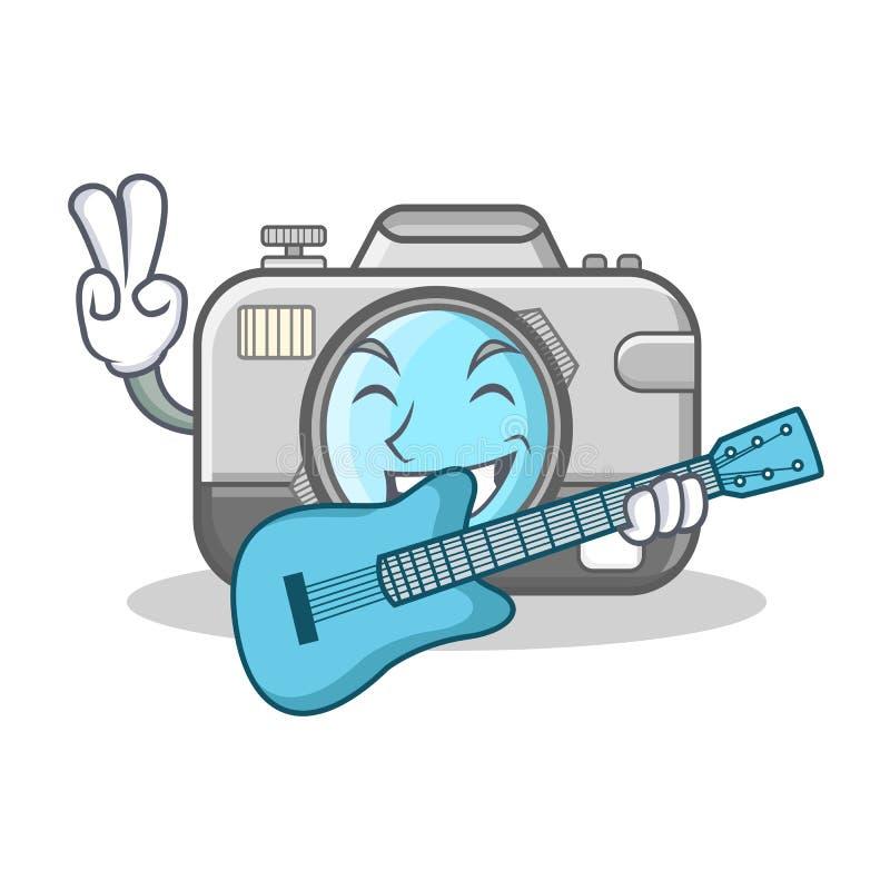 Med tecknade filmen för tecken för gitarrfotokamera stock illustrationer