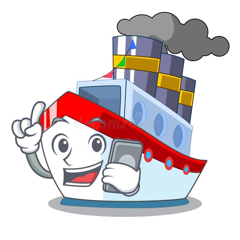 Med telefonskeppet i trans.havmaskot stock illustrationer