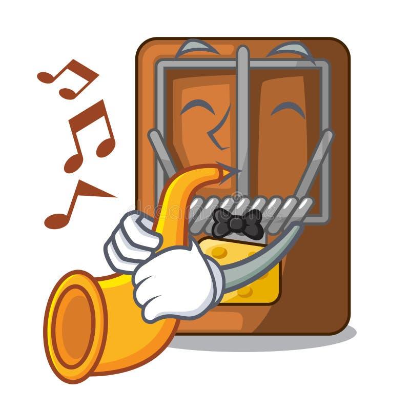 Med trumpetråttfällan som isoleras med i tecknade filmen vektor illustrationer