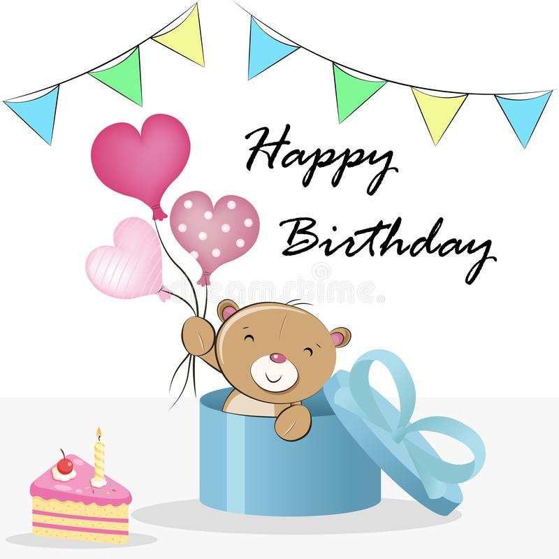 Teddy Bear comes out of a gift with balloons, happy birthday greeting card vector illustration. Cute Teddy Bear comes out of a gift with balloons, happy birthday stock illustration