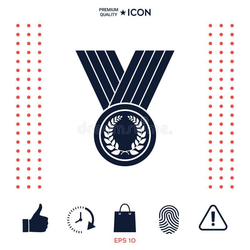 Download Medaglia Con La Corona Dell'alloro, Icona Illustrazione Vettoriale - Illustrazione di honor, emblema: 117975888