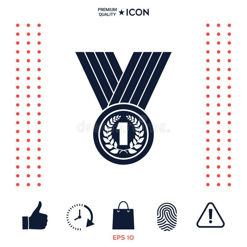 Download Medaglia Con La Corona Dell'alloro Icona Illustrazione Vettoriale - Illustrazione di alloro, celebrazione: 117975901