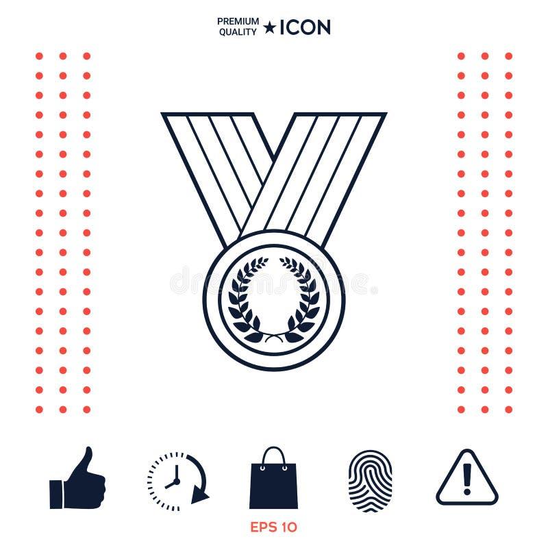 Download Medaglia Con La Corona Dell'alloro, Linea Icona Illustrazione Vettoriale - Illustrazione di emblema, motivo: 117975889