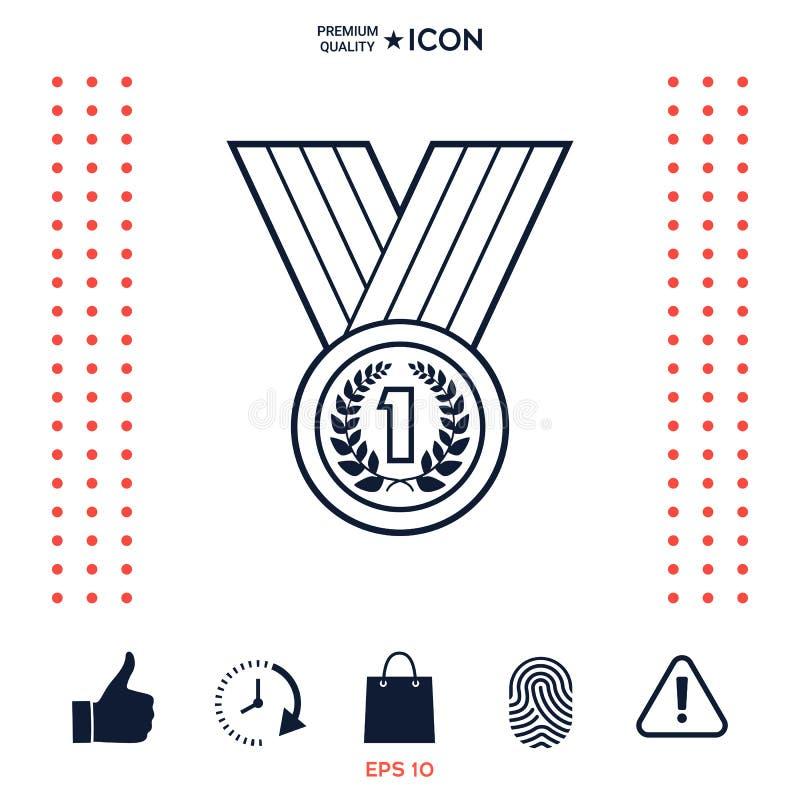 Download Medaglia Con La Corona Dell'alloro Linea Icona Illustrazione Vettoriale - Illustrazione di successo, conquista: 117975933