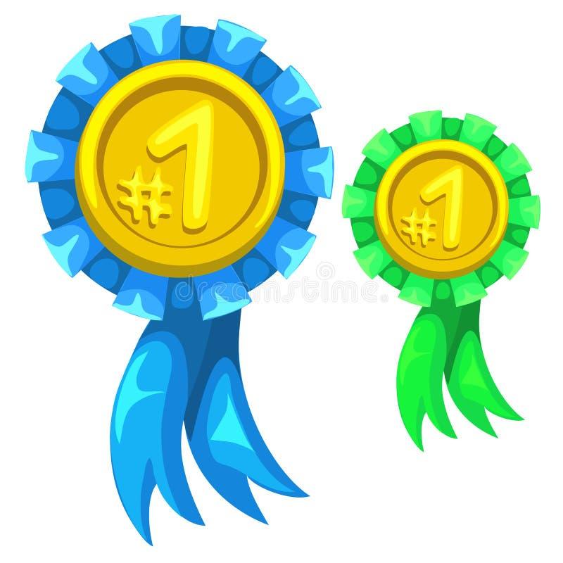 Medaglia d'oro con il nastro blu e verde, numero uno illustrazione di stock
