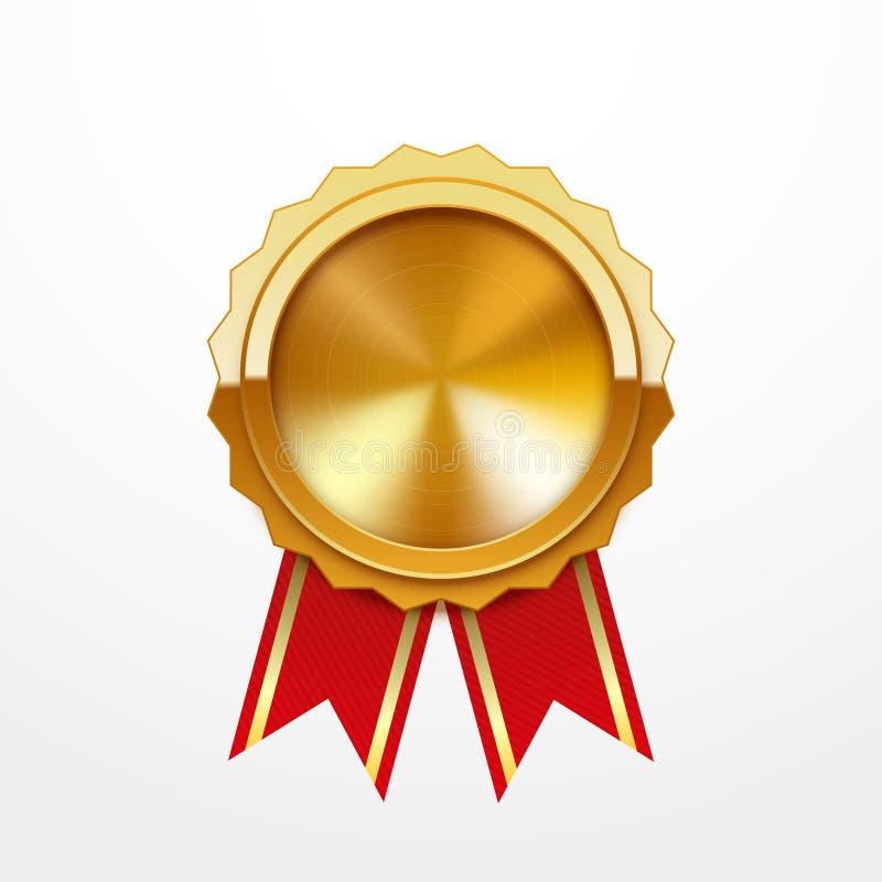 Medaglia d'oro con il nastro rosso, isolato su bianco illustrazione vettoriale
