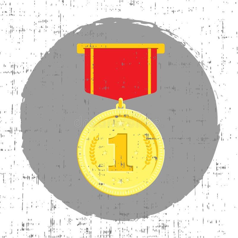 Medaglia d'oro con l'illustrazione di vettore di effetto di lerciume Progettazione piana royalty illustrazione gratis