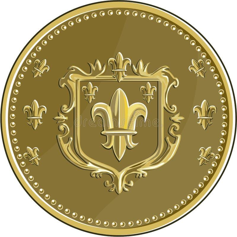 Medaglia d'oro della stemma di giglio araldico retro illustrazione vettoriale