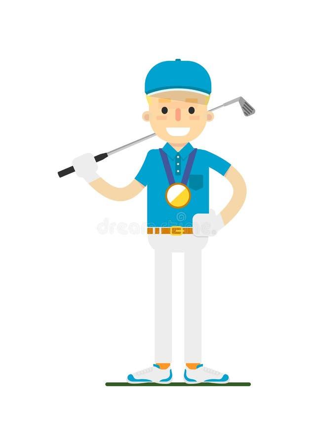 Medaglia d'oro di conquista sorridente del giocatore di golf illustrazione di stock