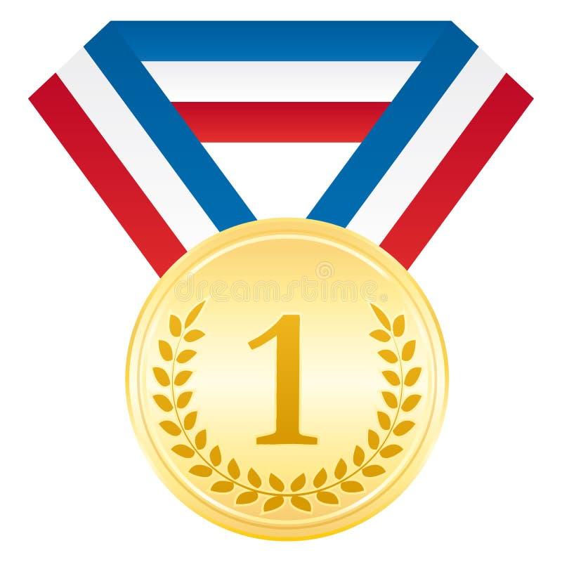Medaglia d'oro Icona di sport di cerimonia di premiazione Nastro bianco e rosso blu illustrazione di stock