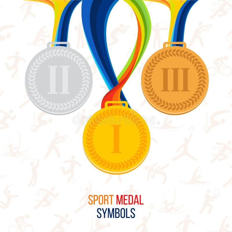 Medaglia d'oro, medaglia di argento, medaglia di bronzo contro i precedenti illustrazione vettoriale
