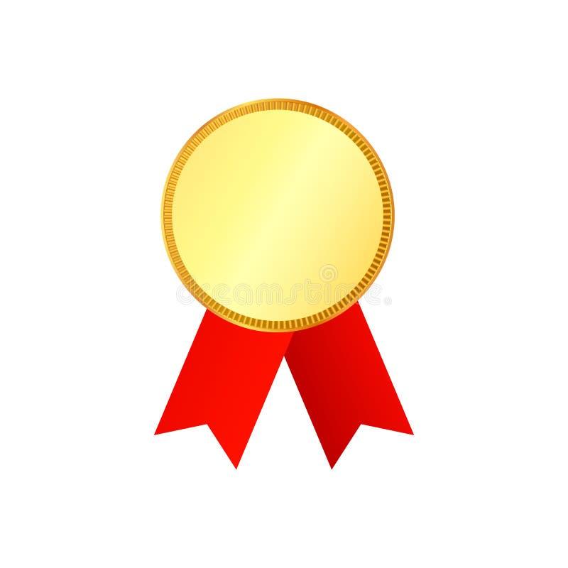 Medaglia d'oro sul nastro rosso con il dettaglio di sollievo illustrazione di stock