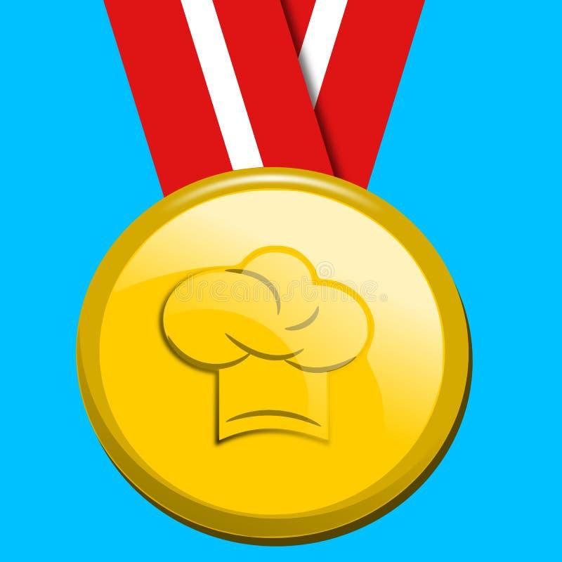 Medaglia del cappello del cuoco unico illustrazione vettoriale