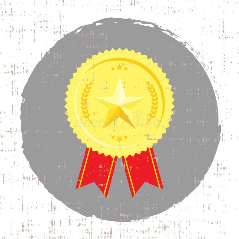 Medaglia del vincitore con l'icona dorata della stella con struttura dello schermo royalty illustrazione gratis
