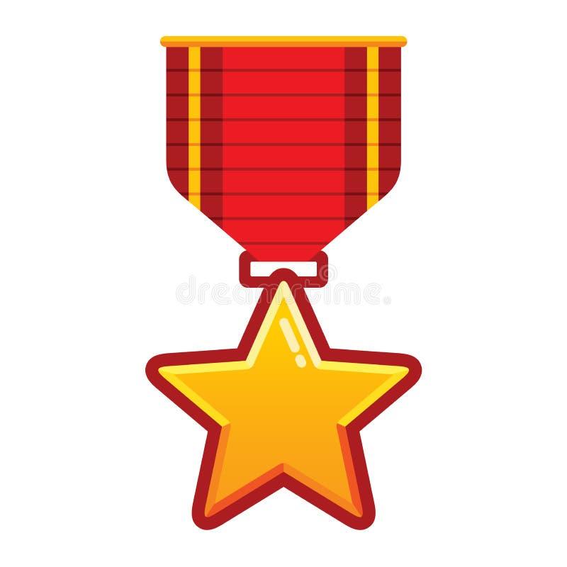 Medaglia della stella d'oro con il nastro rosso per l'illustrazione di vettore del vincitore di campionato nello stile piano del  illustrazione vettoriale