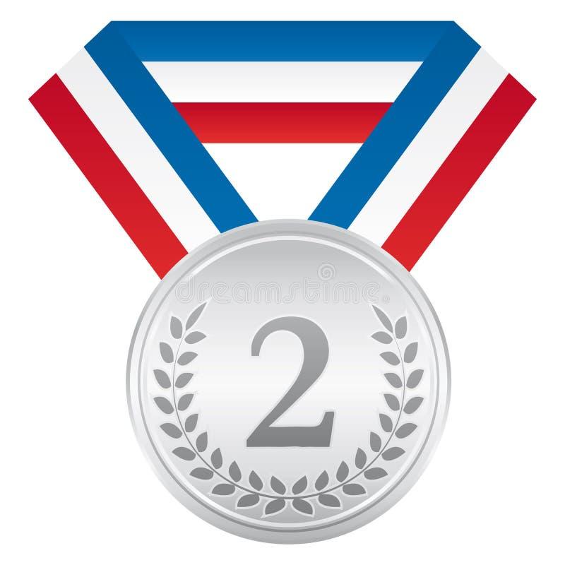 Medaglia di argento Icona di sport di cerimonia di premiazione Nastro bianco e rosso blu illustrazione vettoriale