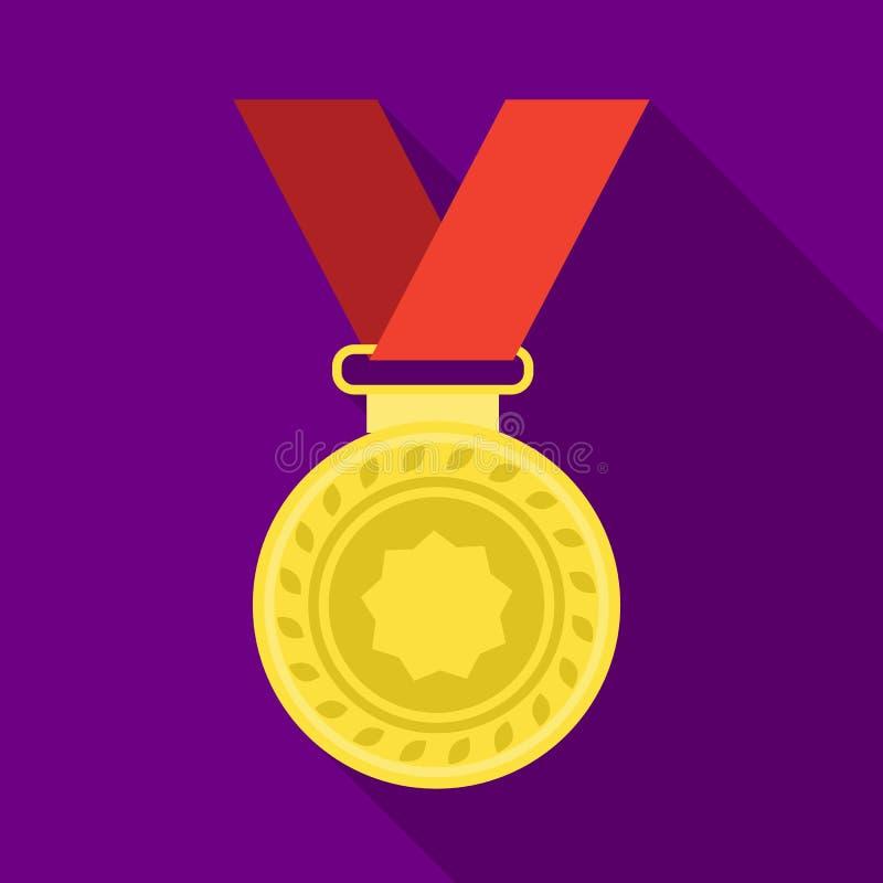 Medaglia di argento su un nastro rosso Il premio per il secondo posto nella concorrenza I premi ed i trofei scelgono l'icona in p illustrazione vettoriale