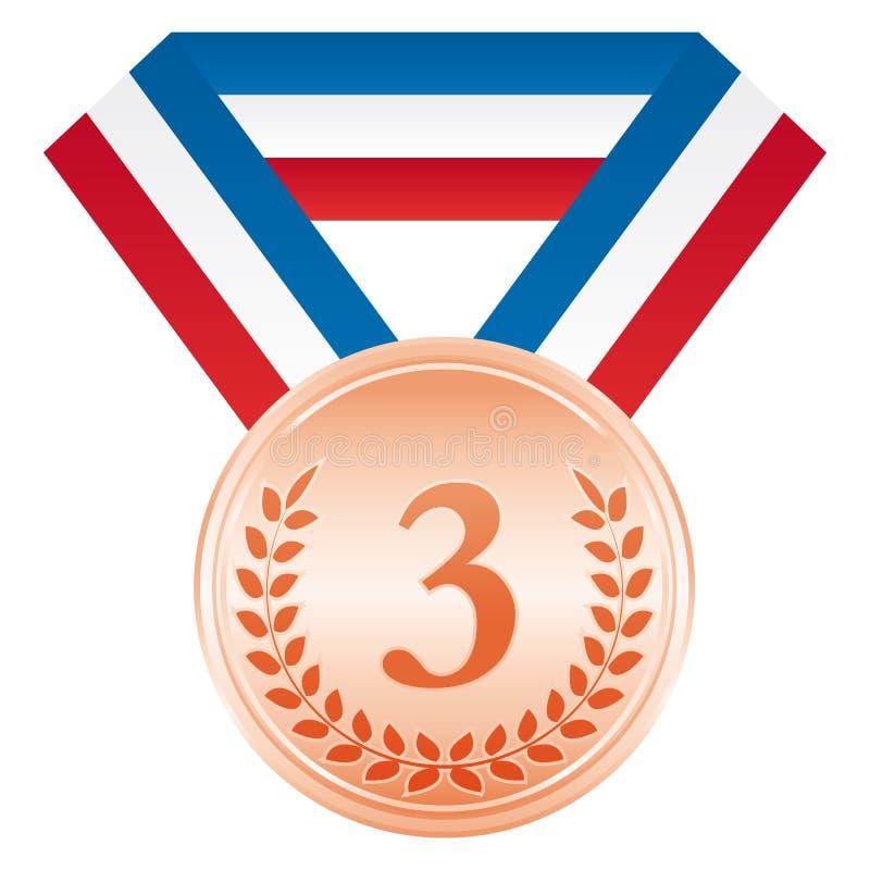 Medaglia di bronzo terzo posto Icona di cerimonia di premiazione illustrazione vettoriale