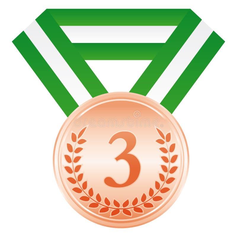 Medaglia di bronzo terzo posto Icona di cerimonia di premiazione royalty illustrazione gratis