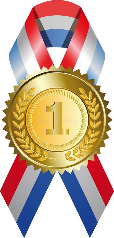 Medaglia di oro con il nastro illustrazione di stock