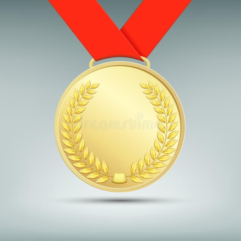 Medaglia di oro con il nastro rosso royalty illustrazione gratis