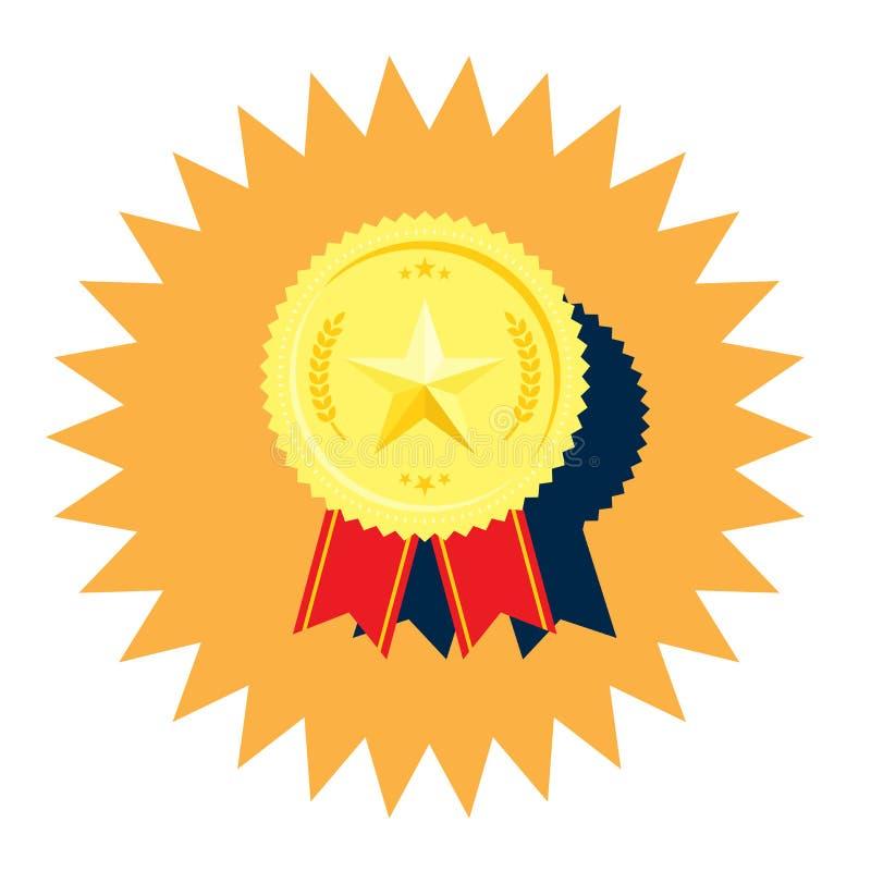 Medaglia dorata con il vettore della stella illustrazione vettoriale
