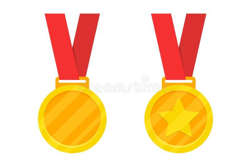 Medaglia dorata del premio con il nastro rosso Illustrazione di vettore royalty illustrazione gratis