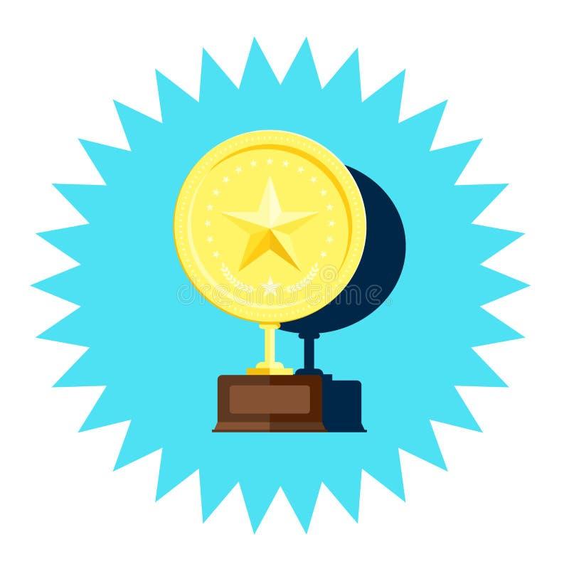 Medaglia dorata del vincitore con il vettore della stella illustrazione vettoriale