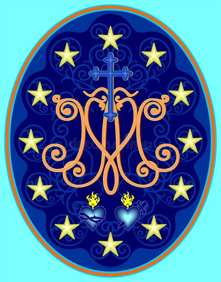 Medaglia miracolosa della nostra signora, monogramma m. con i simboli dei cuori, circondati dalle stelle illustrazione vettoriale