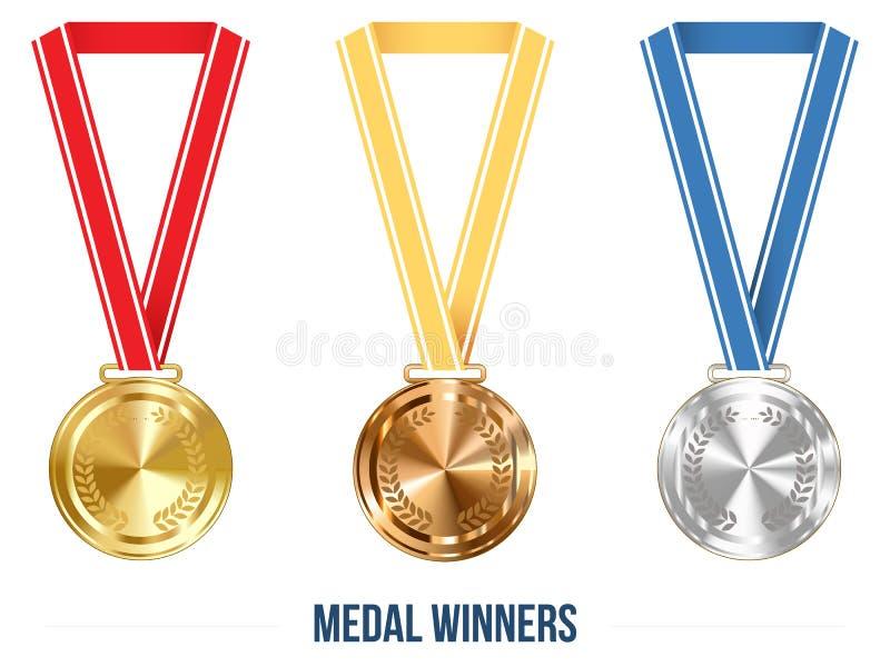 Medaglia olimpica con l'insieme del nastro, illustrazione di vettore illustrazione vettoriale