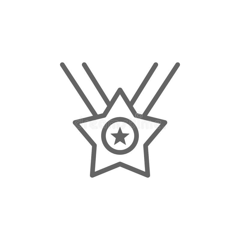 Medaglia, stella, icona di U.S.A. Elemento del quarto dell'icona di luglio Linea sottile icona per progettazione del sito Web e s illustrazione di stock
