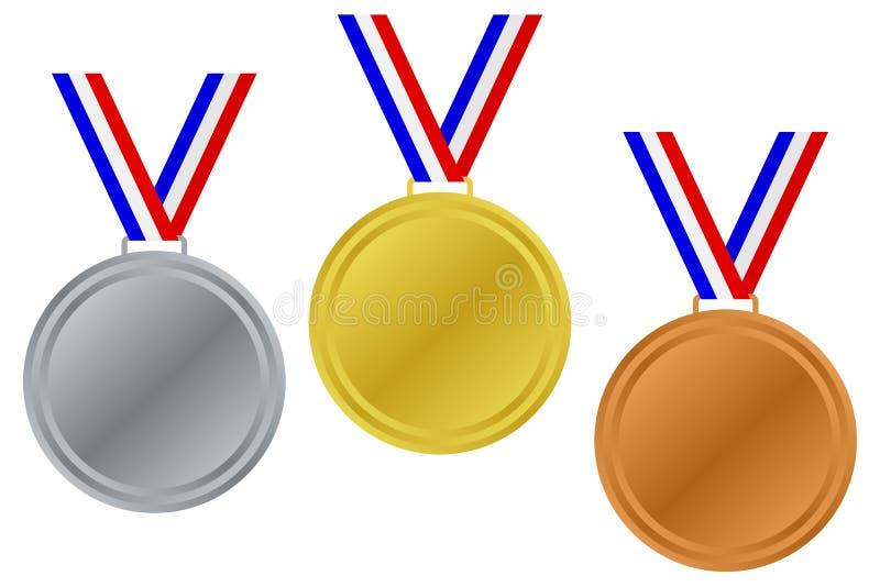 Medaglie in bianco del vincitore impostate illustrazione di stock