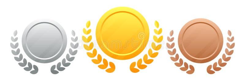 Medaglie con un'illustrazione vettoriale di una corona di fiori 10 Champions Award Set di medaglie oro, argento, bronzo Premio vi illustrazione vettoriale