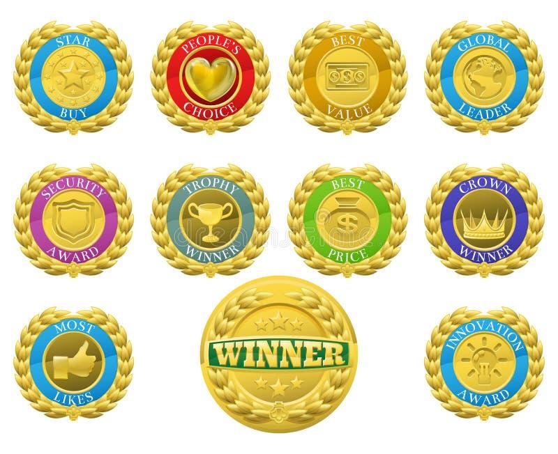 Medaglie dei vincitori illustrazione di stock