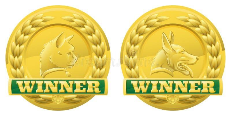 Medaglie dei vincitori dell'animale domestico del cane e del gatto illustrazione di stock