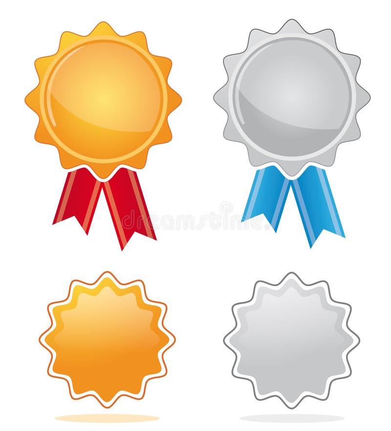 Medaglie del premio dell'argento & dell'oro illustrazione di stock