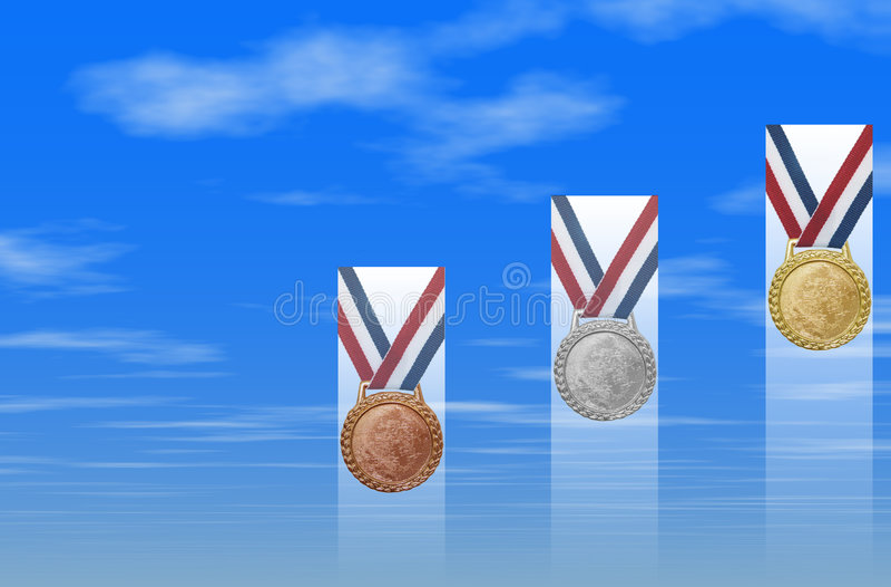 Medaglie di oro d'argento Bronze illustrazione di stock