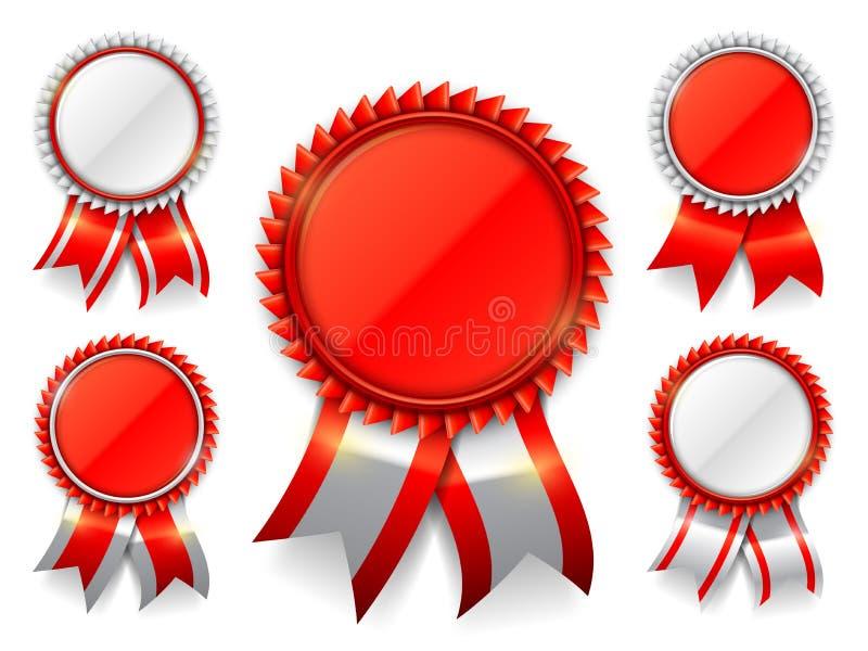 Medaglie rosse del premio illustrazione di stock