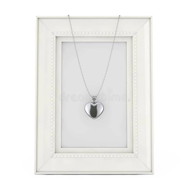 Medaglione d'argento del cuore sulla catena sopra la struttura vuota della foto rende 3D royalty illustrazione gratis