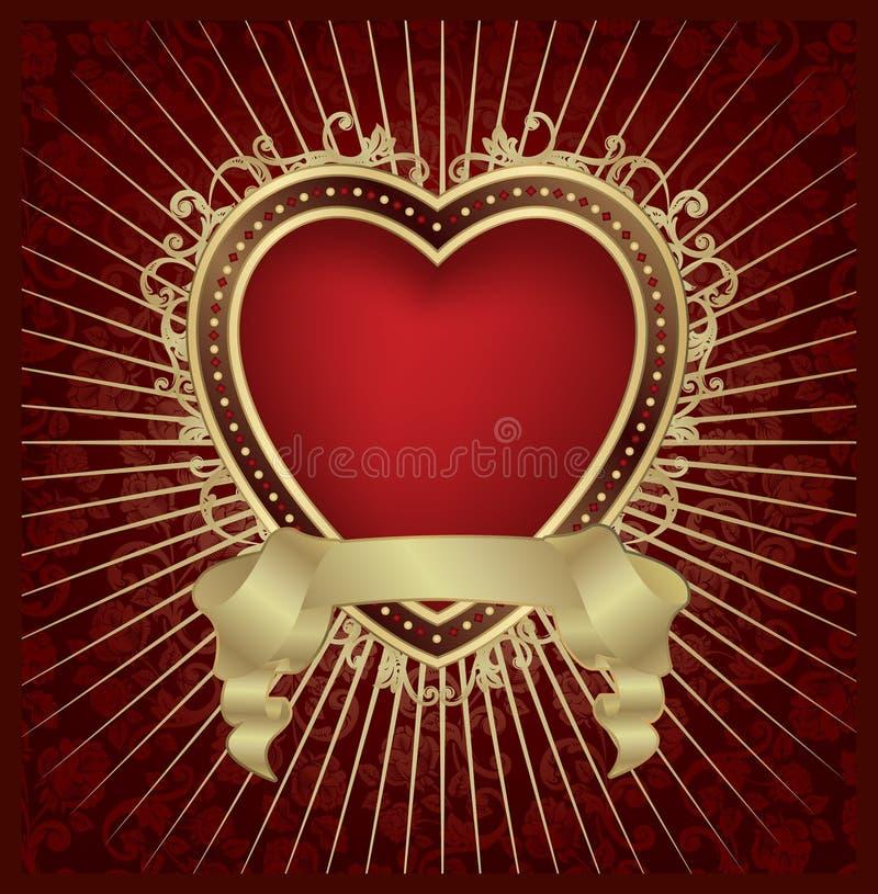 Medaglione del cuore del biglietto di S. Valentino - vettore royalty illustrazione gratis