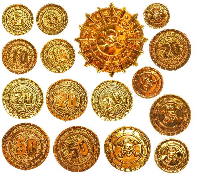 Medaglione del medaglione del pirata dell'oro immagini stock libere da diritti