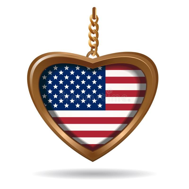 Medaglione dell'oro sotto forma di cuore con la bandiera degli Stati Uniti illustrazione vettoriale