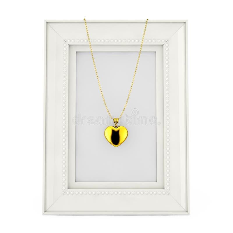 Medaglione dorato del cuore sulla catena sopra la struttura vuota della foto rende 3D royalty illustrazione gratis