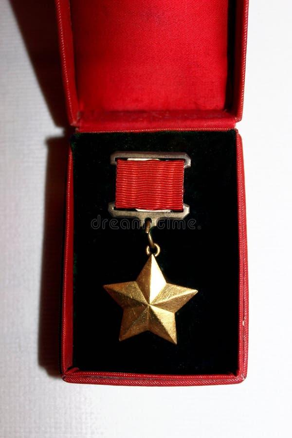 Medaille des die Sowjetunions-Goldsternes stockbild