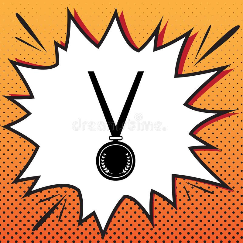 Medaille eenvoudig teken Vector Het pictogram van de strippaginastijl op pop-artbackgrou royalty-vrije illustratie