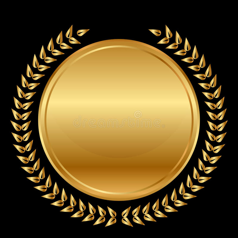 Medaille en laurels op zwarte achtergrond royalty-vrije illustratie