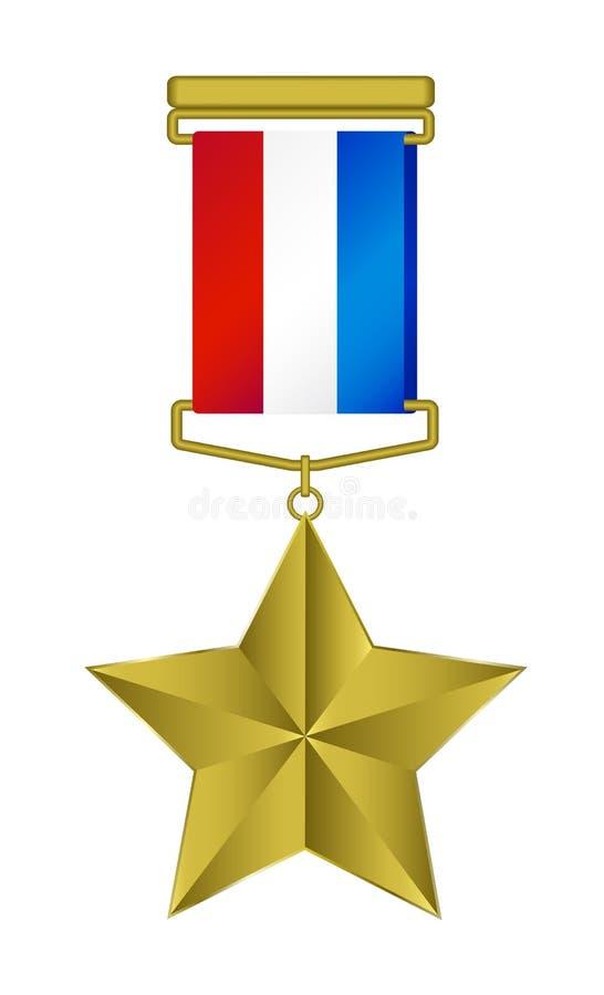 Medaille - gouden ster met tricolorlint royalty-vrije illustratie